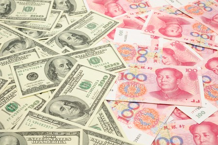Background of US one  hundred dollar bills vs China one hundred yuan bills Stock Photo - 4173286