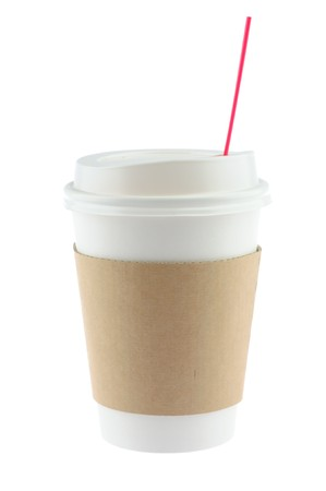 Disposable coffee cup in isolated white background