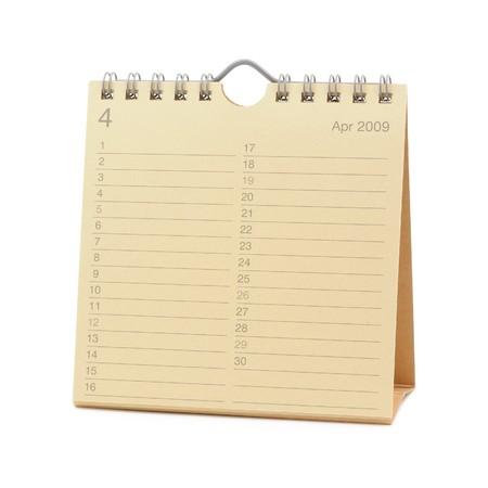 calendario escritorio: Desktop Calendar - abril de 2009, aislado en blanco