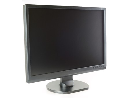 Wide screen LCD monitor in isolated white background