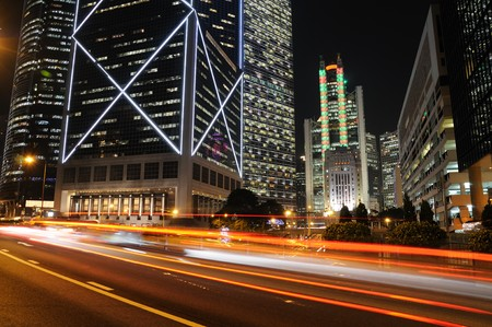 Traffic through business buildings in Hong Kong  Stock Photo