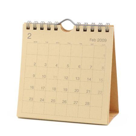 calendario escritorio: Desktop Calendar - febrero de 2009, aislado en blanco