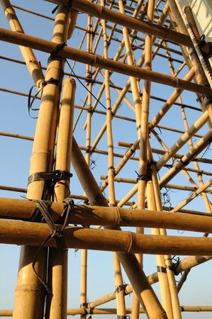 scaffolds: Construction of Bamboo Scaffolds, which is used frequently in asia Stock Photo