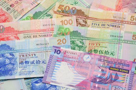 fifty dollar bill: Close up of Hong Kong dollar bank notes