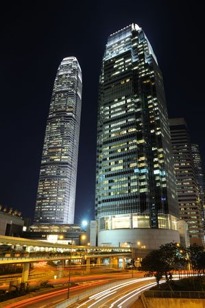 Night traffic and skyscrapers in Hong Kong central district photo