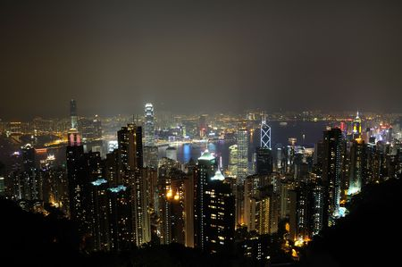 Night scene of Hong Kong from the Peak photo