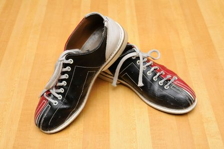 Bowling shoes on the lane photo