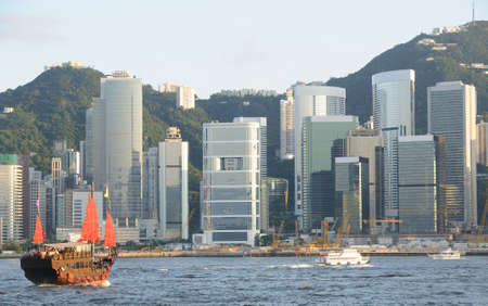 Chinese sailing ship in Hong Kong Victoria Habour Stock Photo - 5450192