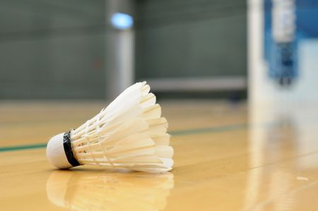 Close up of shuttlecock in badminton game