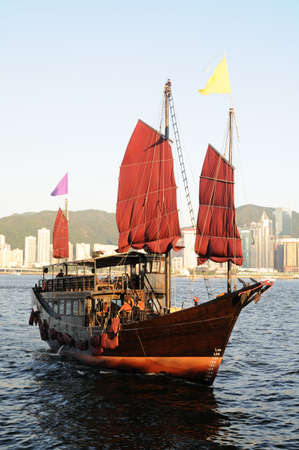 Chinese sailing ship in Hong Kong Victoria Habour Stock Photo - 5875890
