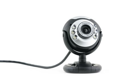 Close up of web cam in isolated white background photo