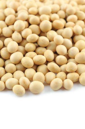 soja: Close up of soya en sobre fondo blanco Foto de archivo