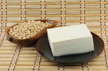 Close up of tofu and soybean