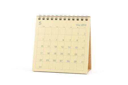 calendario escritorio: Calendario de escritorio - mayo de 2010, aislado en blanco  Foto de archivo