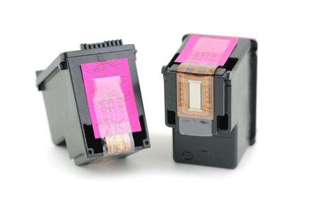 inkjet: Cartuchos de impresora de inyecci�n de tinta aislados en un fondo blanco Foto de archivo