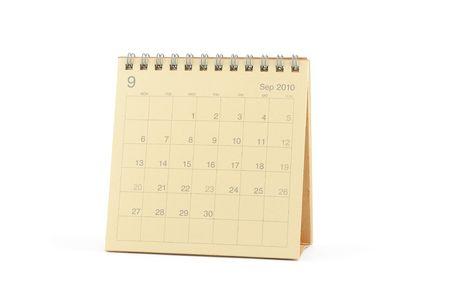 calendario escritorio: Calendario de escritorio - septiembre de 2010, aislado en blanco