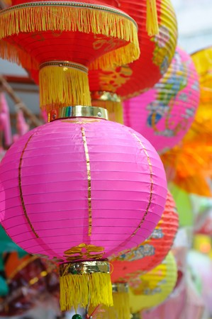 Chinese paper lanterns in mid-autumn festival photo