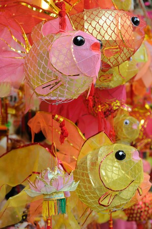colorful lantern: Chinese paper lanterns in mid-autumn festival