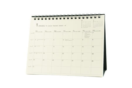 Multilingual desktop calendar January 2011 in isolated white background  photo