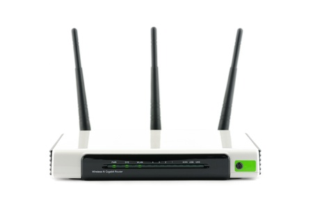 router: Wireless gigabit broadband router in isolated white background Stock Photo