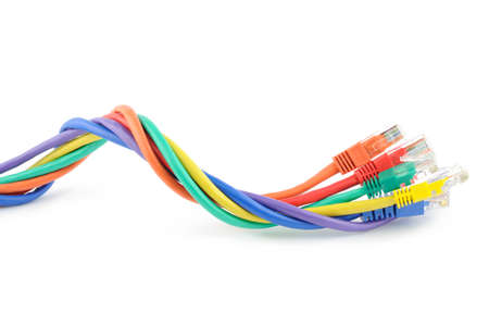 Multi colored computer network cables isolated on white background photo