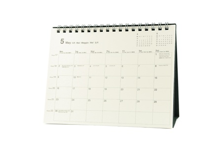 Multilingual desktop calendar May 2011 in isolated white background photo