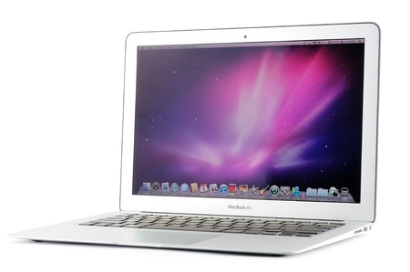 macbook: 13-inch MacBook Air in isolated white background Editorial