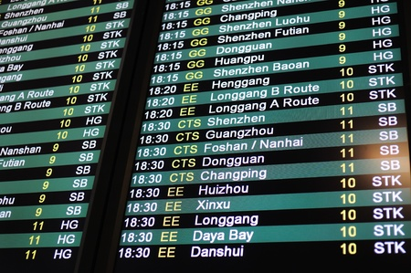 mainland: Coach schedule information board from Hong Kong to Mainland China Editorial