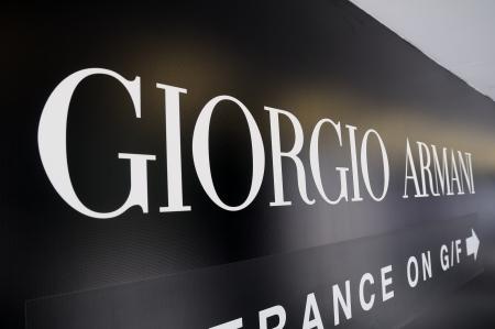 Giorgio Armani sign of boutique in Hong Kong