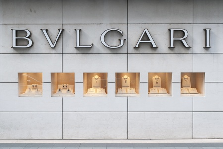 Bvlgari sign of boutique in Hong Kong