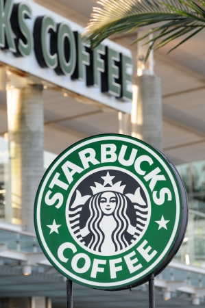 sha: Starbucks Coffee sign in Avenue Of Stars, Hong Kong