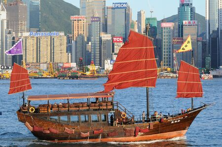 habour: Chinese sailing ship in Hong Kong Editorial