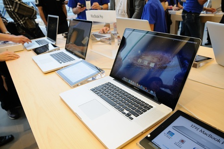 Macbook pro display in Hong Kong Apple store Stock Photo - 10678736
