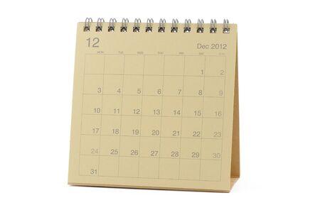 december kalender: Desktop Calendar december 2012 geïsoleerde witte achtergrond