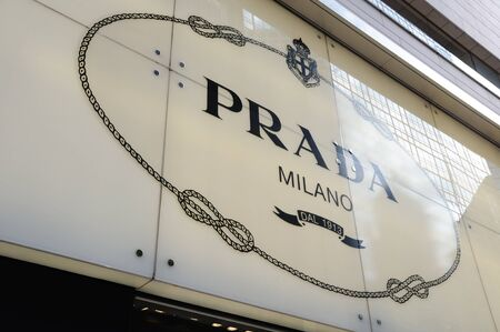 prada: Prada sign of shop in Hong Kong  Editorial