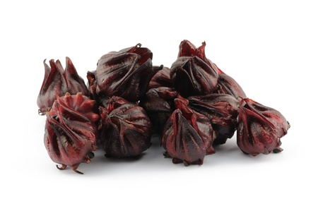 dried herb: Closeup of roselle flowers in isolated white background Stock Photo