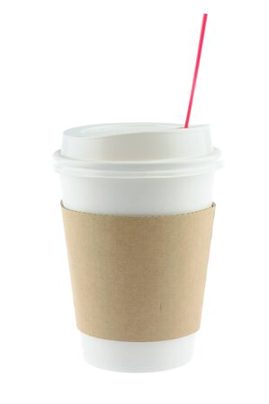 disposable: Disposable coffee cup in isolated white background