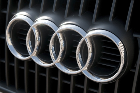 Audi logo no an automobile. Audi is a German automobile manufacturer.