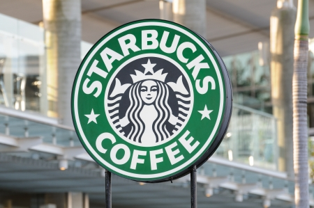 Starbucks Coffee sign in Avenue Of Stars, Hong Kong