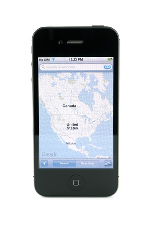 4s: Apple iphone 4s in black with map of america, isolated in white background Editorial