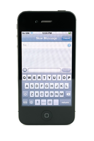 Apple iphone 4s text message screen, isolated in white background