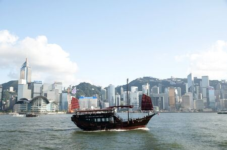Aqua luna, which is a chinese sailing ship runs habour cruises in Hong Kong. Stock Photo - 14612476