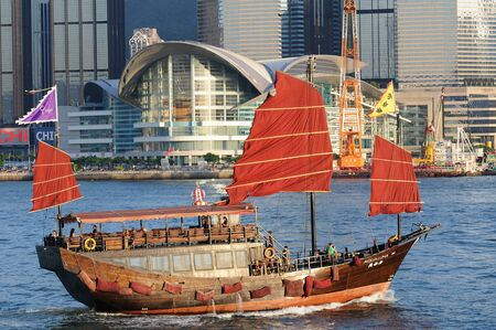 habour: Aqua luna, which is a chinese sailing ship runs habour cruises in Hong Kong.