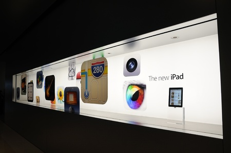 Window display of The new iPad in Hong Kong Apple store Stock Photo - 15370357