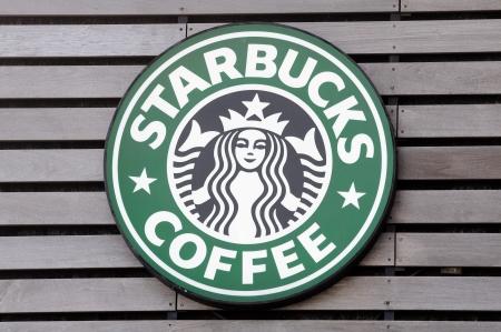 starbucks: Starbucks Coffee sign in Avenue Of Stars, Hong Kong