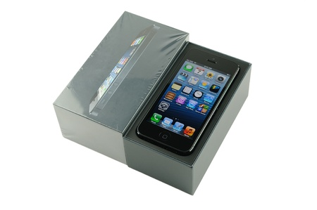 iphone5: iPhone 5 with packaging, isolated in white background