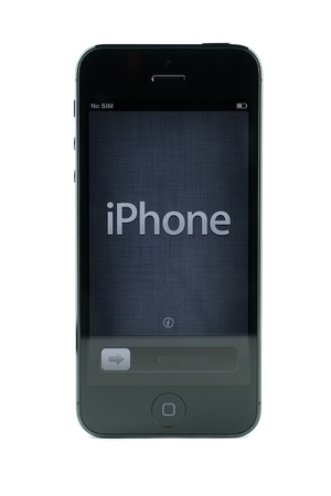 apple computers: Black iPhone 5 isolated in white background