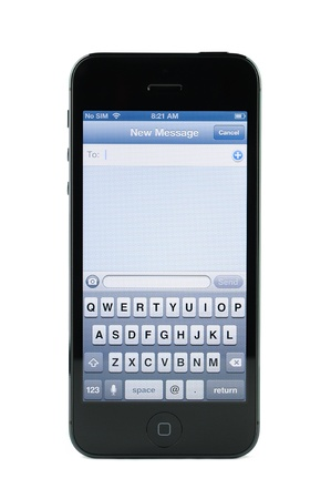 Text messaging screen on iPhone 5 isolated in white background