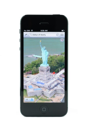 3D views map of statue of liberty on iPhone 5, isolated white Editorial