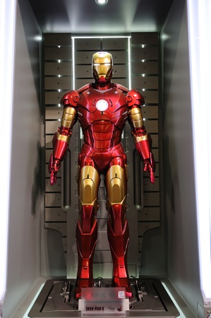 ironman: Iron Man Mark III statue display in an exhibition at a shopping centre, Hysan Place in Hong Kong